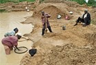 Artisanal diamonds miner in Sierra Leone
