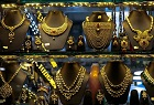Gold jewelry on display in New Delhi, India